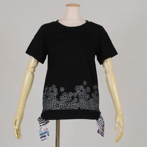 gouk 脇和柄リボン付き丸首Tシャツ GGD25-T009 BK/M