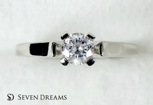 チタン婚約指輪 4ポイントハイショルダーソリテール
