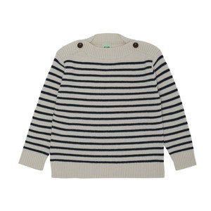 【FUB】 ボーダー ボートネック ニット セーター 150サイズ メリノウール エコテックス認証  2021AW BOATNECK BLOUSE ecru 100% merino wool (oekotex)