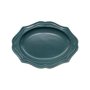 美濃焼 一洋陶園 カードル cadre 楕円 小皿 プレート 約17×13cm 緑 ブロンズ 513-0031