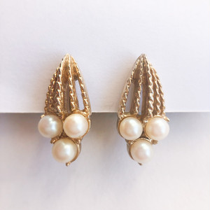 """Sarah Coventry"" gold & pearl  earring[e-1322] ヴィンテージイヤリング"