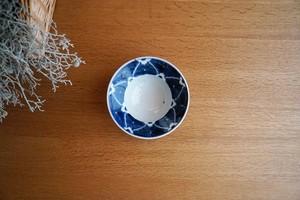 砥部焼/4寸縁付鉢/染付花/皐月窯
