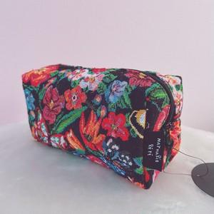 【Nathalie Lete】ナタリー・レテ マチ付き裏地付きポーチ バタフライ&フラワー square pouch butterfly & flower