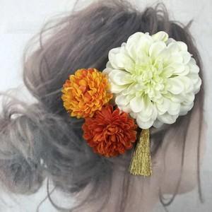 ホワイトダリア  マム  髪飾り  3