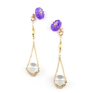 "【2way】 flower glass_vintage_pierce ""purple rain×pure ice"""
