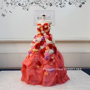 ウエディングドレス(パニエ無料) フラワーピンクドレス/ラメスカート 披露宴/二次会