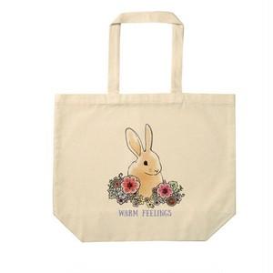 【送料無料】花とうさぎ 大きめナチュラルトートバッグ