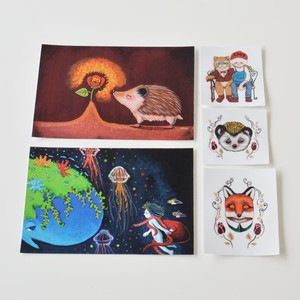 // suisui postcards stickers set