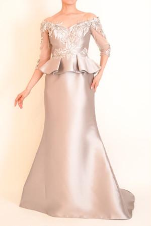 L-82 ペプラムロングドレス
