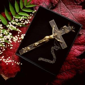 真鍮の髑髏付き十字架