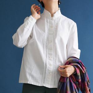 【送料無料】 80's vintage linen blouse(80年代 アンティーク 古着 ブラウス)
