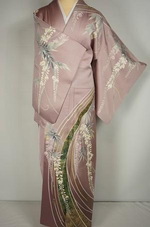 作家物 藤 友禅 訪問着 正絹 金箔 紫 紅藤色 189