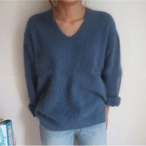 【トップス】Vネック無地暖かい柔らかいニットセーター27325118