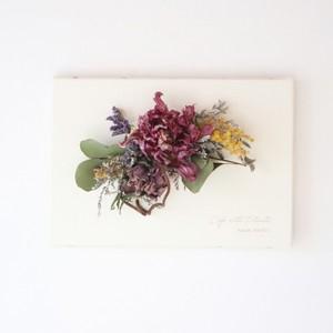 """植物キャンバスM """"チューリップ・シャトと小花のスワッグ""""【bdfa20059】ドライフラワー"""