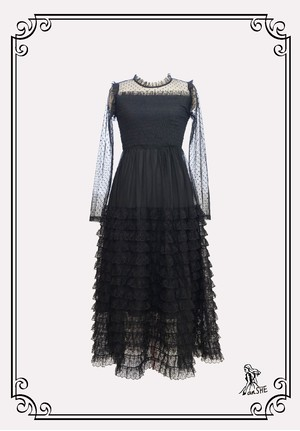 Frilled Tulle Lace Dress / チュールとレースのフリルワンピース