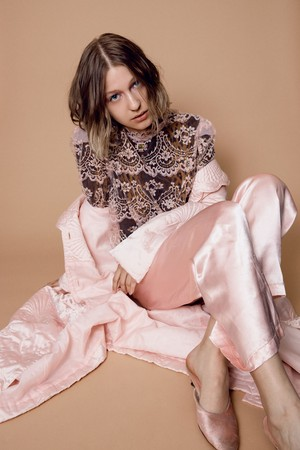 70s baby pink shell quilting haori coat ( ヴィンテージ 薄ピンク シェル 模様 キルティング コート )