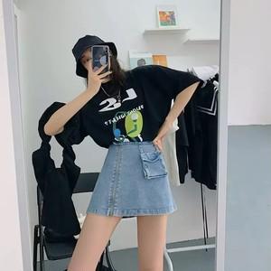 design pocket denim skirt