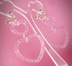 ◎SK brothers◎earring 2連ハート ピンク