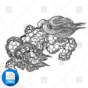 【png画像素材】唐獅子2 Mサイズ  横1500px × 縦1076px