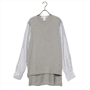 COMME des GARCONS コムデギャルソン カットソー SHIRT ROUND-NECK L/S TEE S27055-1 メンズ GREY/STRIPE
