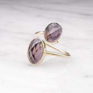 DOUBLE BIG STONE OPEN RING 003