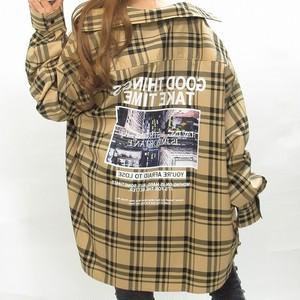 ストリート チェック柄 バクプリ胸ポケロゴ BIGシルエット オーバーシャツ