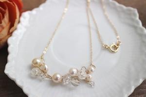 あこやバロック真珠のクラスターネックレス
