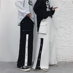 【ボトムス】激安販売中韓国系配色レギュラー丈ボタンハイウエストカジュアルパンツ41256192