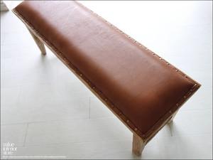 オールドチークレザーベンチLB イス 長椅子 シンプル 総無垢材 木製 本皮 二人掛けソファ 革張り レトロ調 銘木 手作り 送料無料