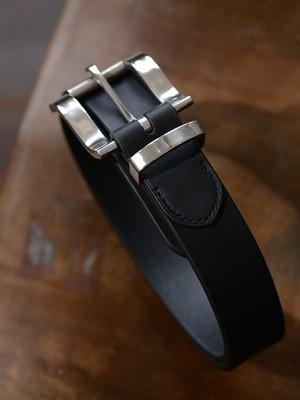 Silver Roller Buckle Leather Belt