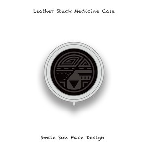 Leather Stuck Medicine Case ( Small Round Shape ) / Smile Sun Face Design 004