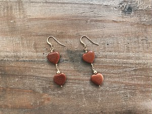 【14kgf】Sand stone heart earrings