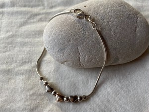 〈vintage silver925〉heart link bracelet