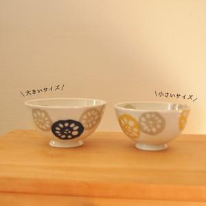 【SLSET-0012】磁器 ごはん茶碗 セット れんこん 紺&黄