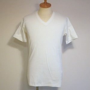 High Tension Circular Rib V Neck TEE White