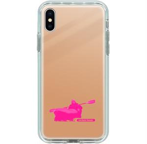 iPhone X, XS, 8, 7用ミラーケース パドリングシルエット(Leo R. Yamada) ピンク