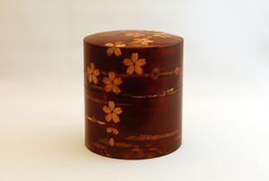 桜皮茶筒:桜花色出し中平