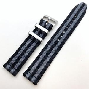 セパレート・シートベルト素材 NATOナイロンストラップ JB グレー/ブラック 18mm 腕時計ベルト