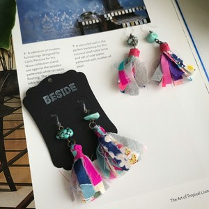 【KIMONO】アンティーク着物のタッセルピアス(ターコイズにピンク)