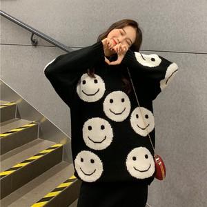 【トップス】ストリート系ゆったり笑顔プリントニットセーター