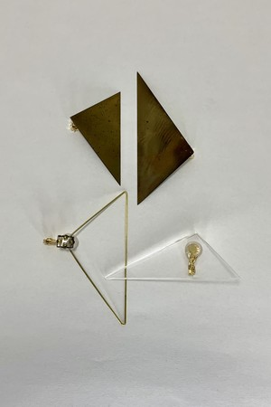 three+one triangle ear cuff brass and transparent