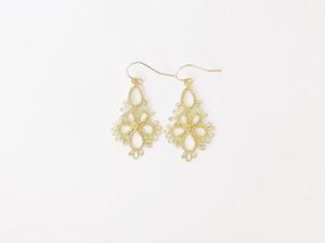 YulariceTatting lace earring Flowerdrop Brass