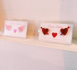 Love♡Letter - heart earring red/pink