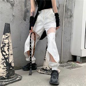 元气少女 个性网纱拼接半透视拉链术口松紧长裤宽松显瘦休闲裤潮