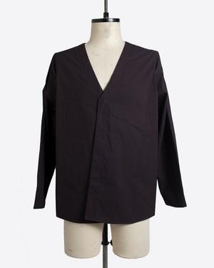 T/f cotton typewriter shirt cardigan - dark plum