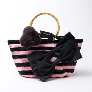 "Hand Knitted Crochet Bag ""BAMBOO TOTE"" Black x Pink  DBB0009"