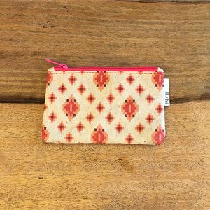 Ashi|亜紙 Flat Pouch S*Cambodia Traditional Design (Pink) 紙ポーチ 伝統柄 カンボジア ハンドメイド