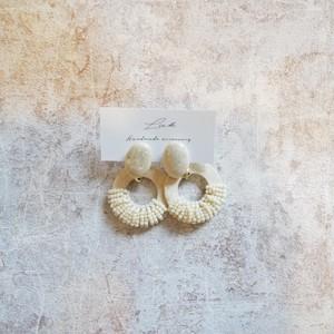 wood × beige beads pierced earrings ✦ ウッド×ベージュビーズ ピアス