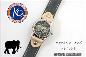 KC,s バックルワン エレファント メンズ ブレスレット 腕時計 男女兼用 本革 レザーブレス 全2色 牛革【店頭受取対応商品】