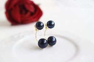 親子パール(ピーコック黒淡水真珠)のバックキャッチ・ノンホールピアス(ピアスに見えるイヤリング)